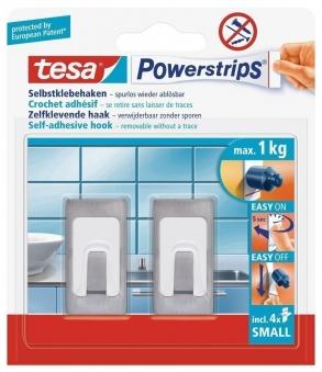 tesa® Powerstrips Metall-Haken Small Rechteck 2 Stück Bild 1