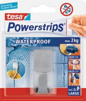 tesa® Powerstrips Waterproof Haken-Zoom Rechteck 2 Stück Bild 1