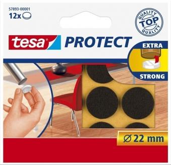 tesa® Protect Filzgleiter rund 22 mm braun 12 Stück Bild 1