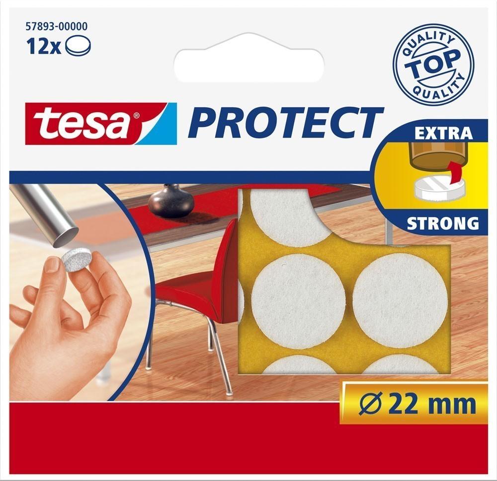tesa® Protect Filzgleiter rund 22 mm weiss 12 Stück Bild 1