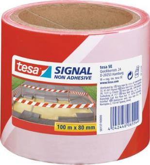 tesa® Signal Absperrband 100m 80mm rot/weiss Bild 1