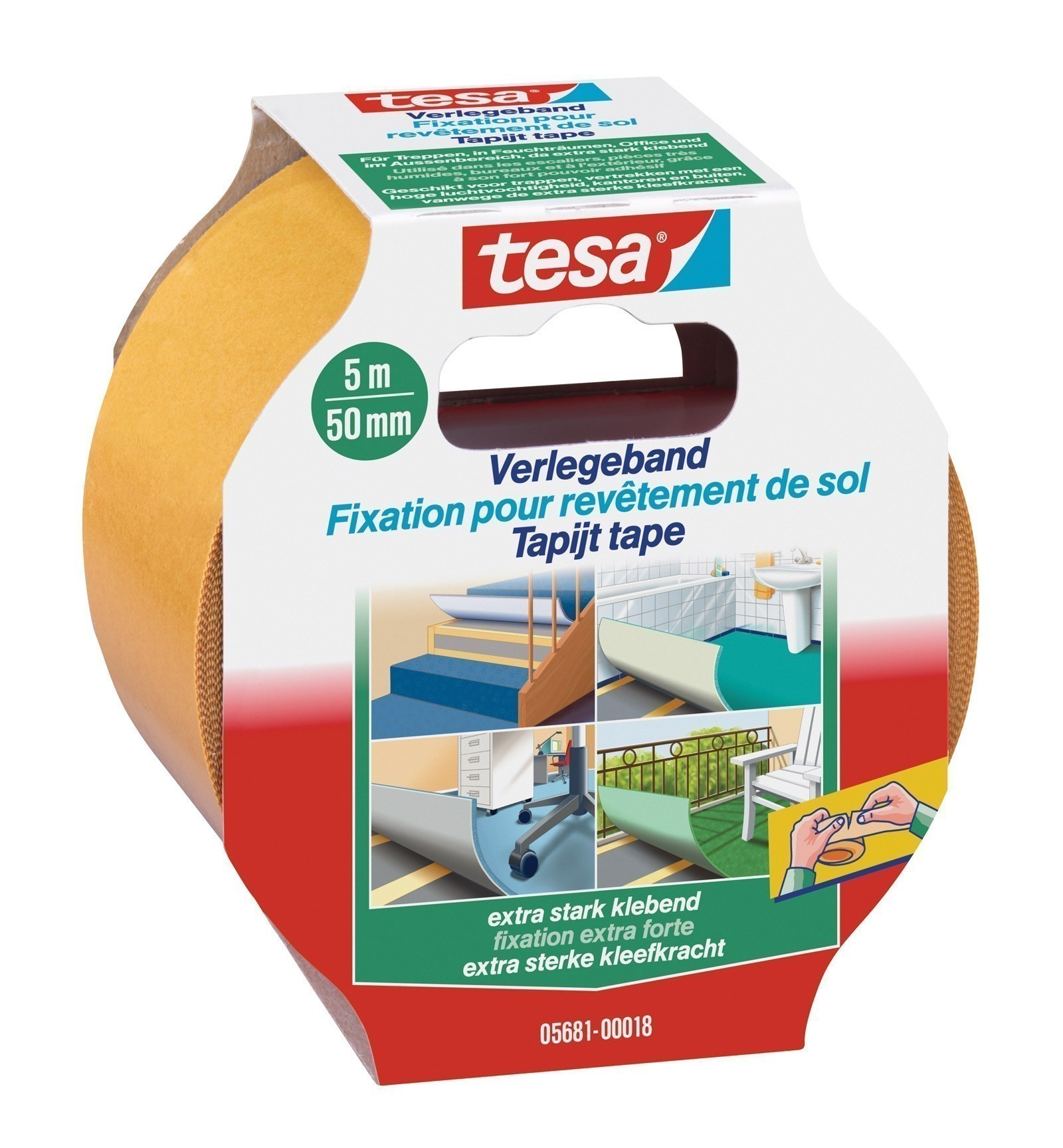 tesa® Verlegeband extra stark klebend 5 m x 50 mm Bild 1