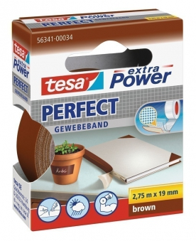 tesa® extra Power Perfect Gewebeband 2,75 m x 19 mm braun