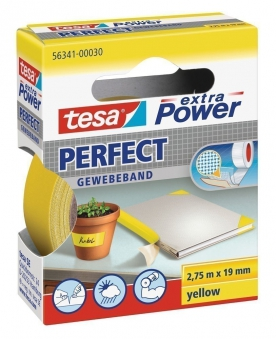 tesa® extra Power Perfect Gewebeband 2,75 m x 19 mm gelb Bild 1