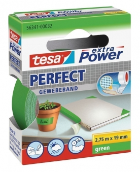 tesa® extra Power Perfect Gewebeband 2,75 m x 19 mm grün Bild 1