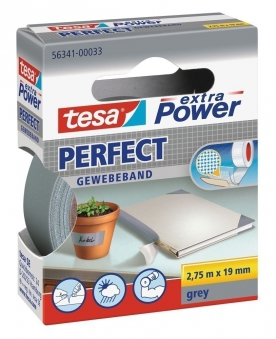 tesa® extra Power Perfect Gewebeband 2,75 m x 19 mm grau Bild 1