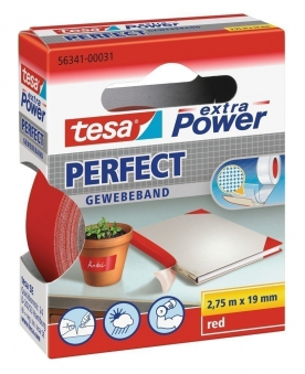 tesa® extra Power Perfect Gewebeband 2,75 m x 19 mm rot Bild 1