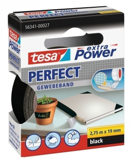 tesa® extra Power Perfect Gewebeband 2,75 m x 19 mm schwarz