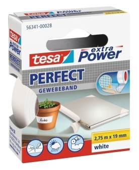tesa® extra Power Perfect Gewebeband 2,75 m x 19 mm weiss