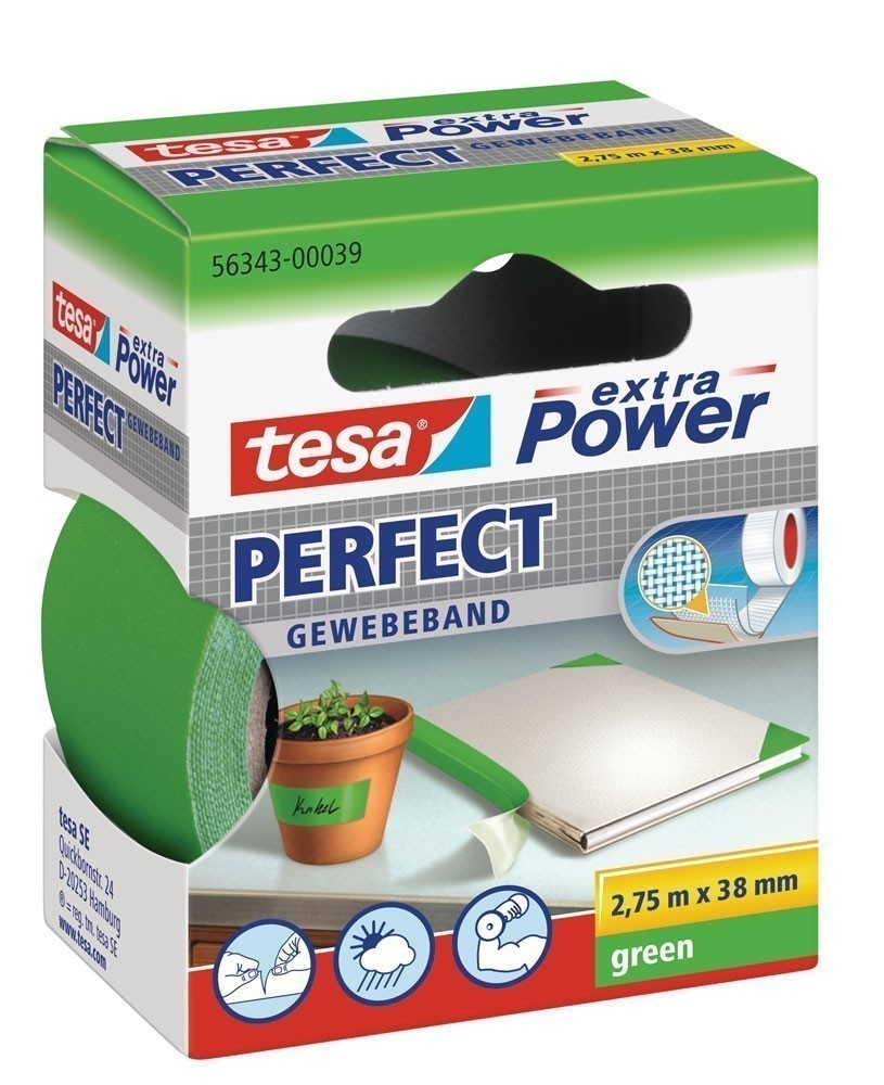 tesa® extra Power Perfect Gewebeband 2,75 m x 38 mm grün Bild 1