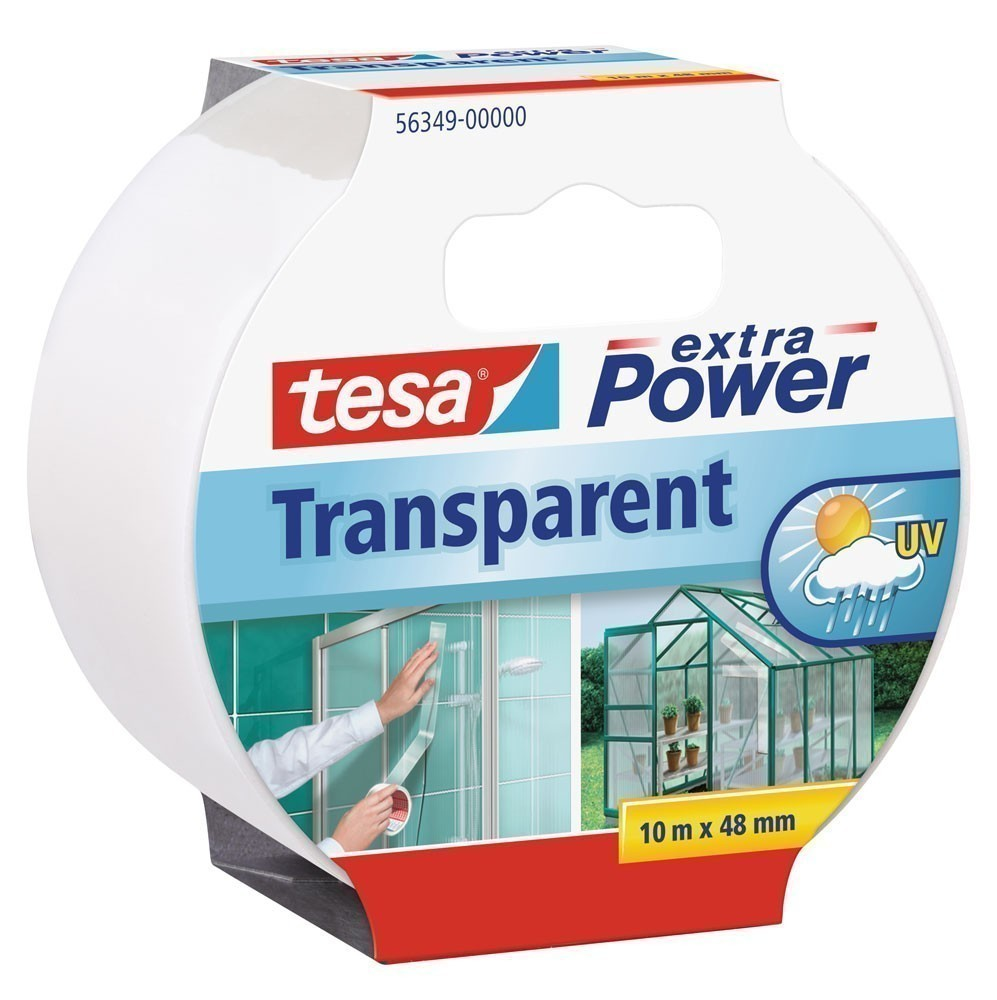 tesa® extra Power Transparent Gewebeband 10 m x 48 mm Bild 1