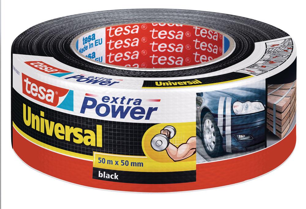 tesa® extra Power Universal Gewebeband 50 m x 50 mm schwarz Bild 1