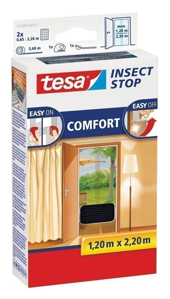 tesa insect stop fliegengitter klett comfort t r 1 2 x 2 2 m anthr bei. Black Bedroom Furniture Sets. Home Design Ideas