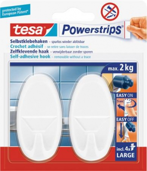 tesa Powerstrips Haken Large Oval chrom Bild 1