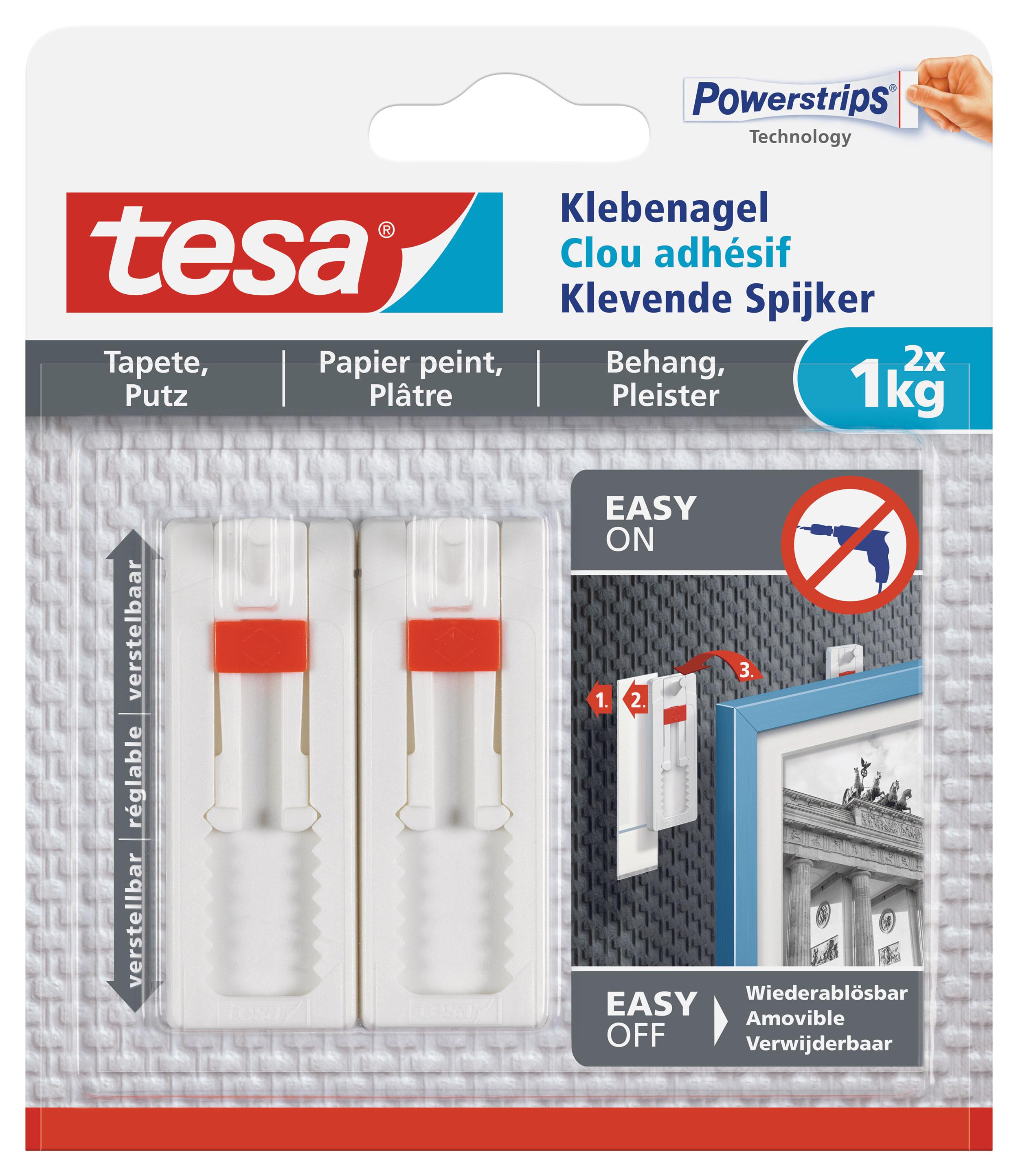 tesa verstellbarer Klebenagel für Tapeten und Putz - 2 Stück Bild 1