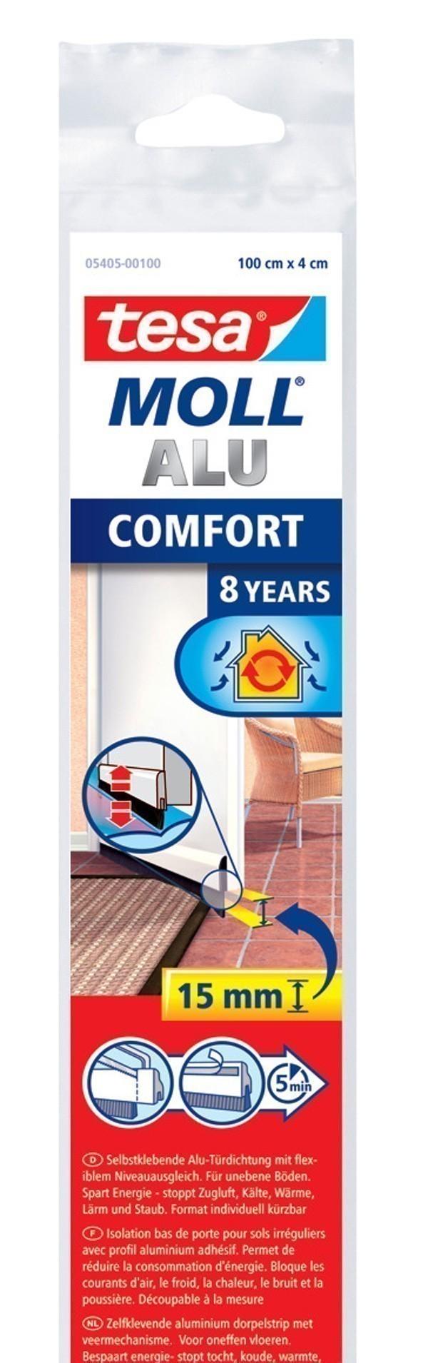 tesa moll t rdichtung comfort t rdichtschiene unebene b den silber 1 m bei. Black Bedroom Furniture Sets. Home Design Ideas