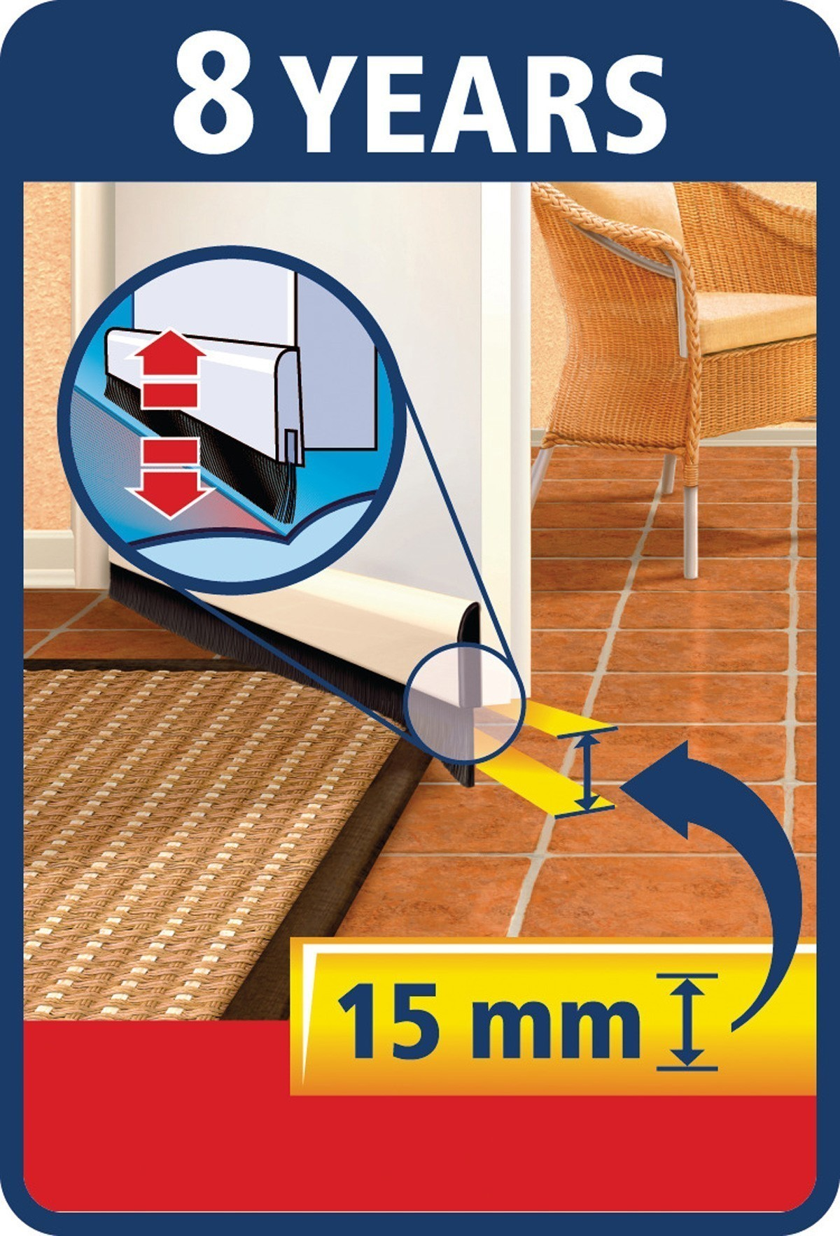 tesamoll® Comfort Türdichtschiene für unebene Böden weiß 1m x 40mm Bild 2