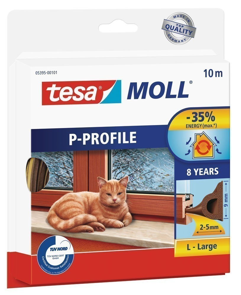 tesamoll® P-Profil Gummidichtung 9 mm x 10 m braun Bild 1
