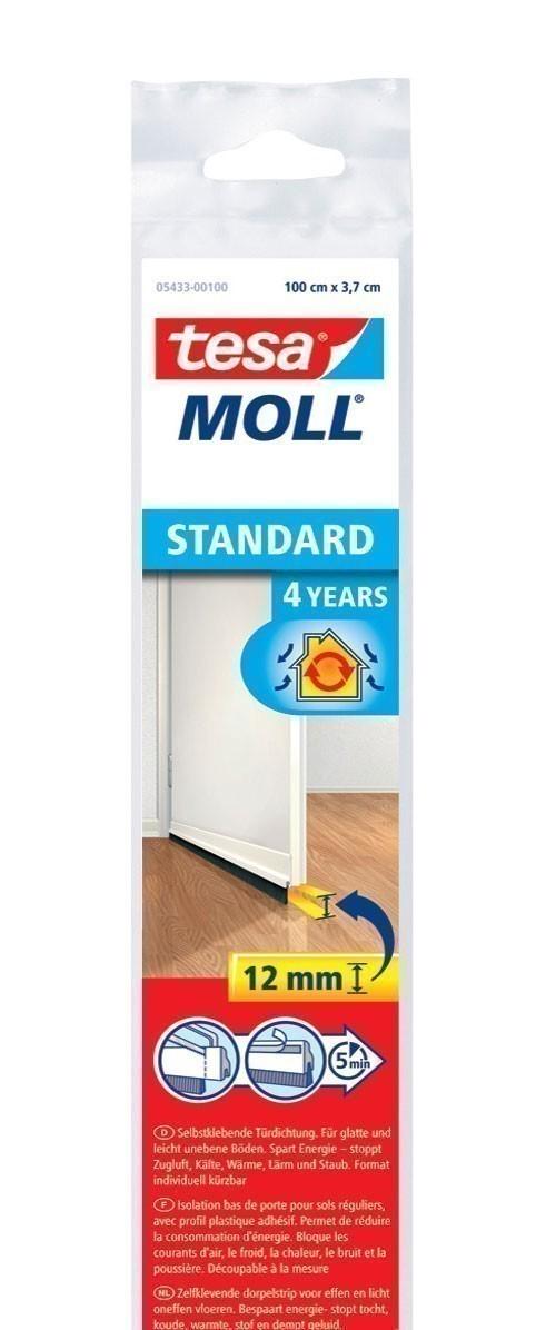 tesamoll® Standard Türdichtschiene für glatte Böden weiß 1m x 37mm Bild 1