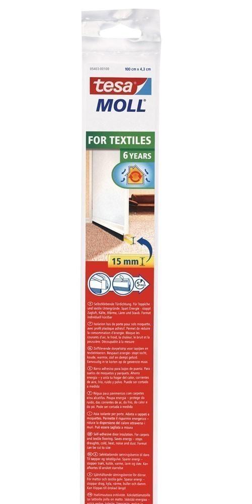 tesamoll® Standard Türdichtschiene f. Textilböden weiß 1mx43mm Bild 1