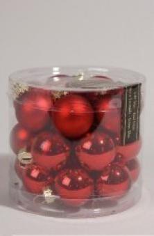 Christbaumschmuck Kaemingk Mini Weihnachtskugeln Glas Ø25mm rot 24St. Bild 1