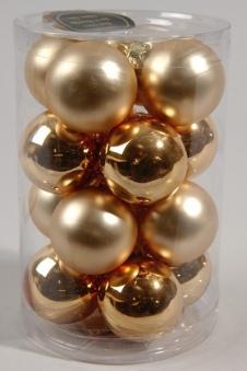 Christbaumschmuck Kaemingk Mini Weihnachtskugeln Glas Ø35mm gold 16St. Bild 1