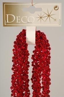 Christbaumschmuck Kaemingk Weihnachtsdeko Diamantenkette Mini rot 2,7m Bild 1