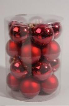 Christbaumschmuck Kaemingk Weihnachtskugeln Glas Ø60mm rot 20Stück Bild 1