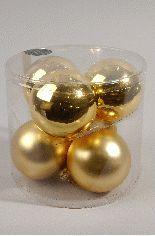 Christbaumschmuck Kaemingk Weihnachtskugeln Glas Ø80mm gold 6 Stck Bild 1