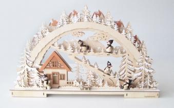 Schwibbogen / Lichterbogen LED Stadt mit Winterlandschaft und Figuren Bild 1