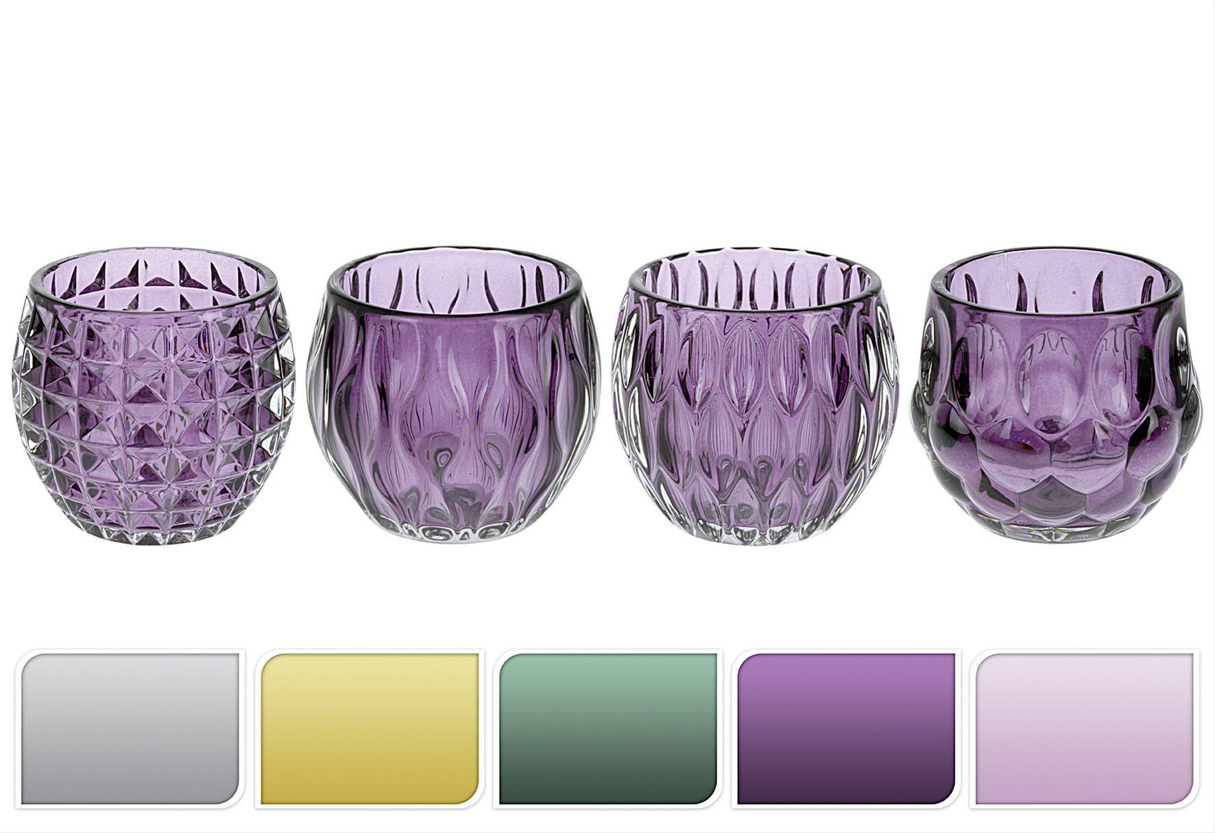 Teelichthalter Glas, farbig sortiert 8,5cm Ø10cm Bild 1