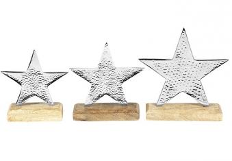 Weihnachtsdeko / Set Stern Metall / Holz Bild 1