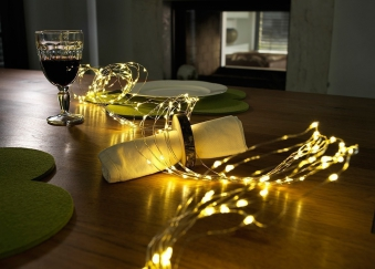 LED Lichterkette Konstsmide silber Tropfen Lametta 90 LED 12V Innen Bild 2