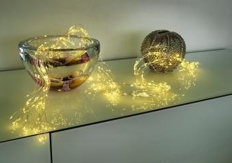 LED Lichterkette Konstsmide silber Tropfen Lametta 90 LED 12V Innen Bild 3