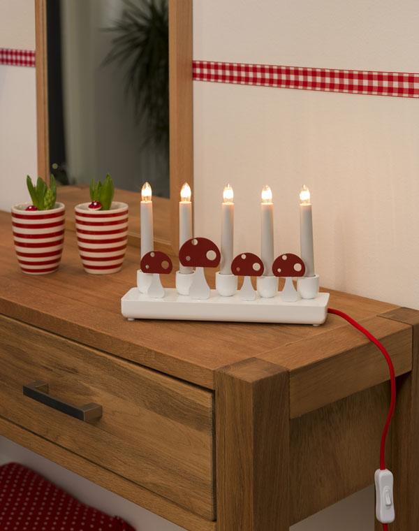 Weihnachtsbeleuchtung Innen Kerzen.Weihnachtsbeleuchtung Konstsmide Holzleuchter Weiß 5 Kerzen Innen