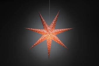 Weihnachtsbeleuchtung Konstsmide Papierstern rot-weiß 78cm für innen Bild 1