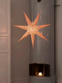 Weihnachtsbeleuchtung Konstsmide Papierstern rot-weiß 78cm für innen Bild 2