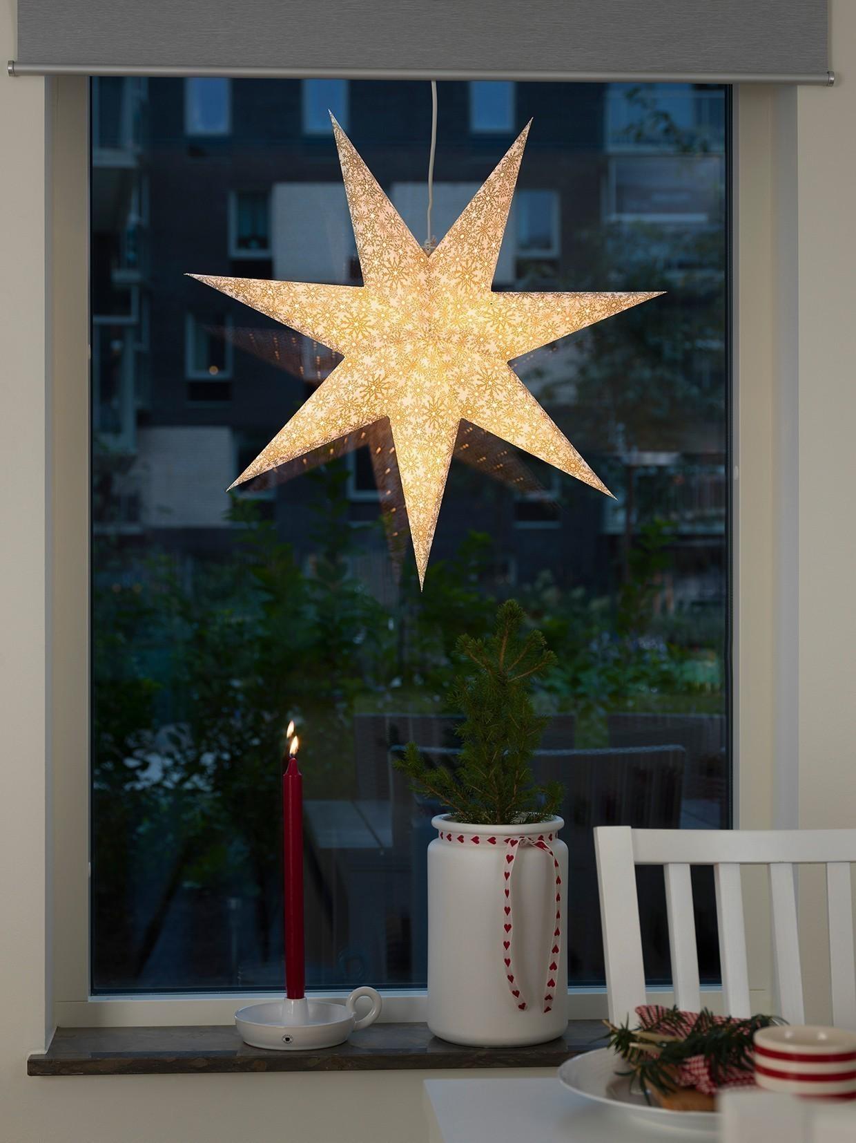 Weihnachtsbeleuchtung Konstsmide Papierstern weiß-gold 60 cm innen Bild 2