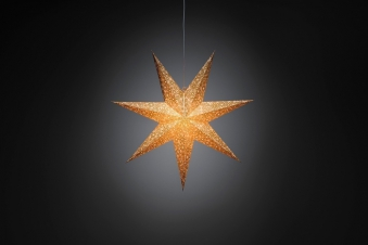Weihnachtsbeleuchtung Konstsmide Papierstern weiß-gold 60 cm innen Bild 1
