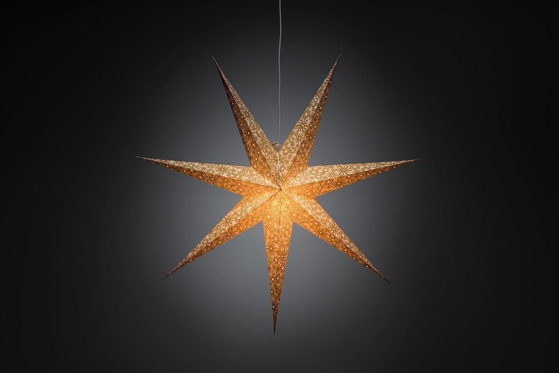 Neuheiten Weihnachtsbeleuchtung.Weihnachtsbeleuchtung Konstsmide Papierstern Weiß Gold 78cm Innen