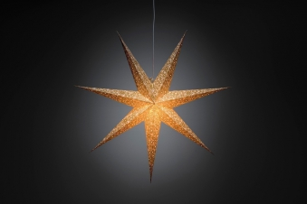 Weihnachtsbeleuchtung Konstsmide Papierstern weiß-gold 78cm innen Bild 1