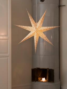 Weihnachtsbeleuchtung Konstsmide Papierstern weiß-gold 78cm innen Bild 2
