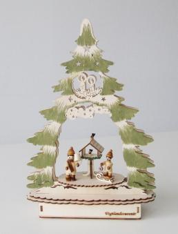 Weihnachtsdeko Weihnachtsbaum Laserholz natur / grün Bild 1
