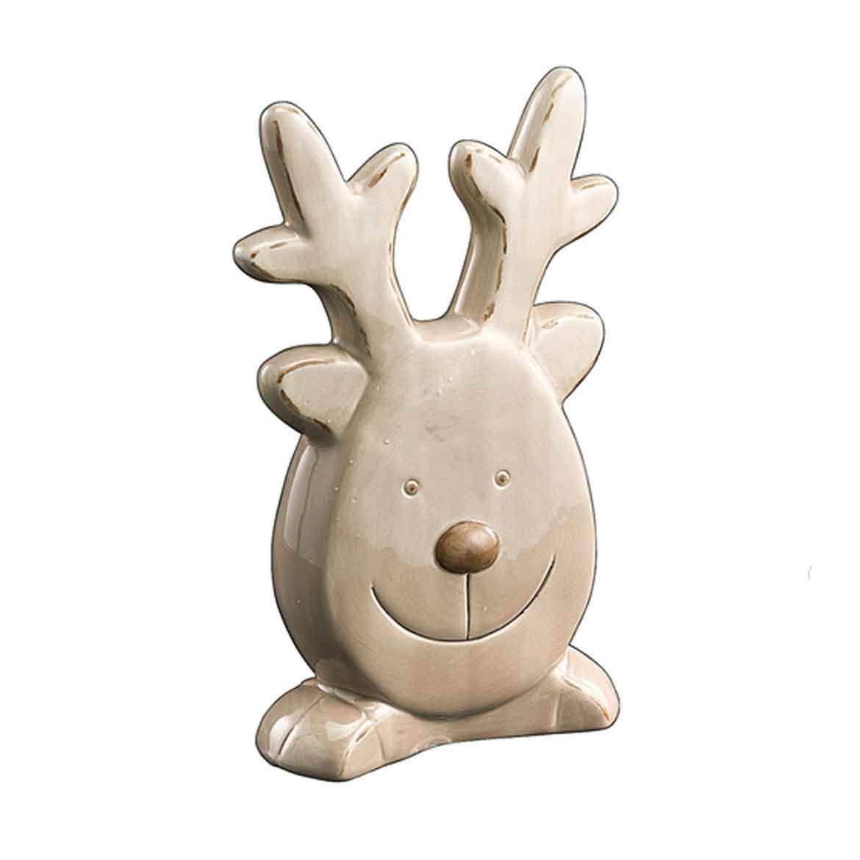 Deko-Figur Elch Keramikgesicht 17cm Bild 1