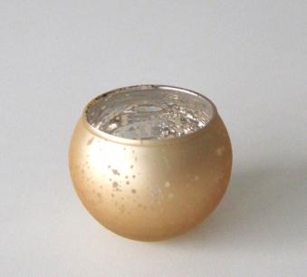 Teelichtkugel verspiegelt Ø 7cm 2-fach sortiert gold oder silber  1x Bild 1