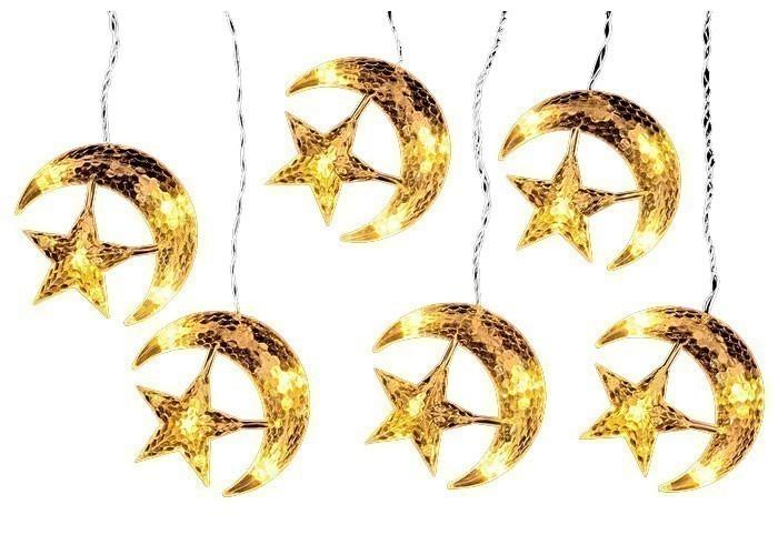 Weihnachtsbeleuchtung LED Vorhang Mond und Sterne mit Trafo Bild 1