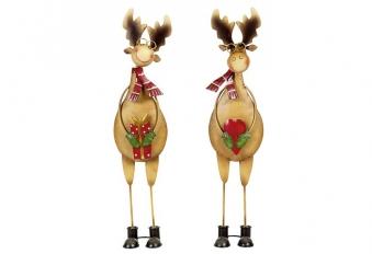 Weihnachtsdeko / Elch mit Brille Metall H 41cm sortiert Bild 1