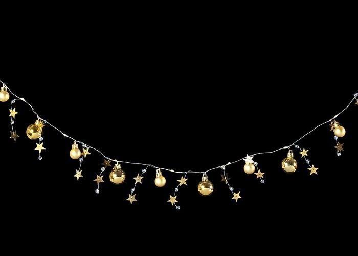 Weihnachtsdeko LED Lichterkette Kugel mit Sternen batteriebetrieben Bild 1