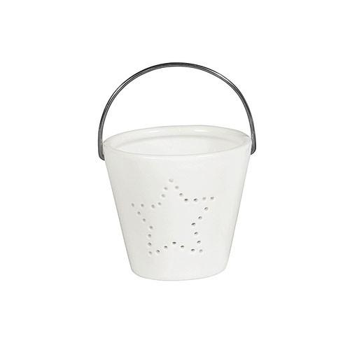 Weihnachtsdeko Teelichthalter Porzellan weiß 8x8x7cm Bild 1