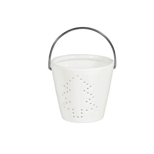 Weihnachtsdeko Teelichthalter Porzellan weiß 8x8x7cm Bild 2